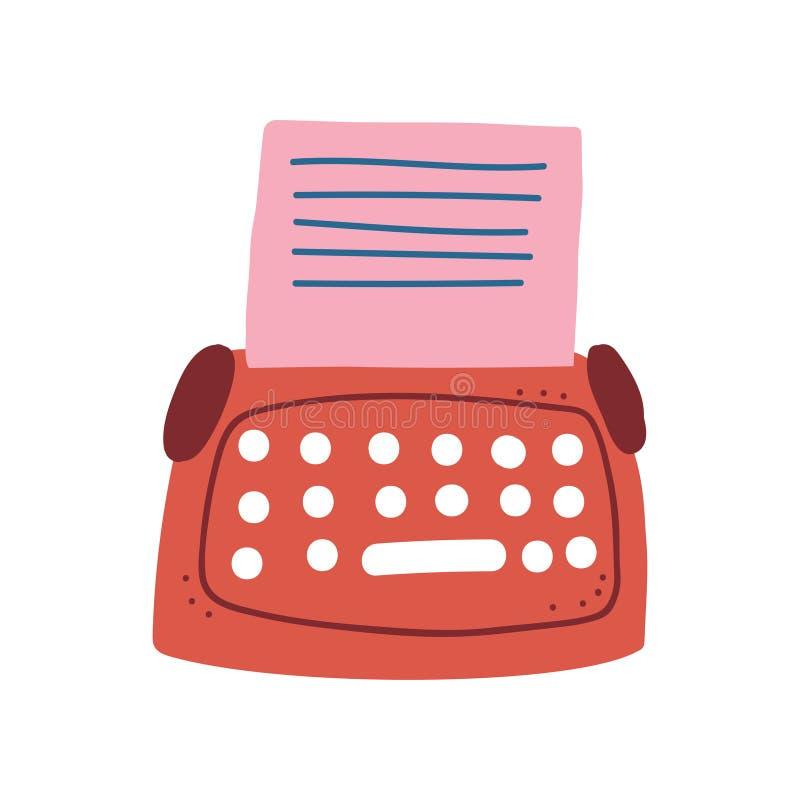 Máquina de escribir retra roja y ejemplo de papel en blanco del vector de la hoja stock de ilustración