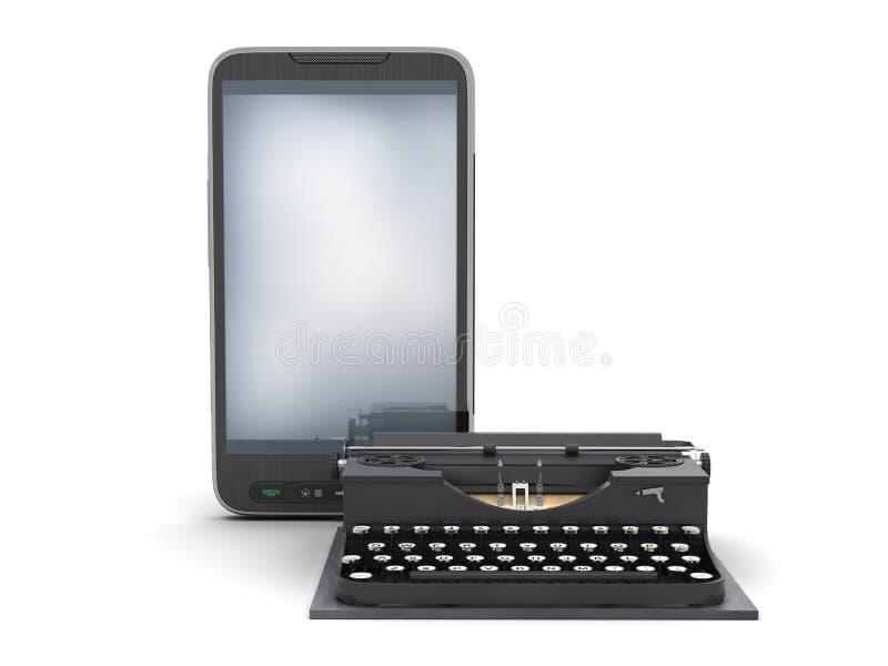 Máquina de escribir retra y teléfono celular moderno stock de ilustración