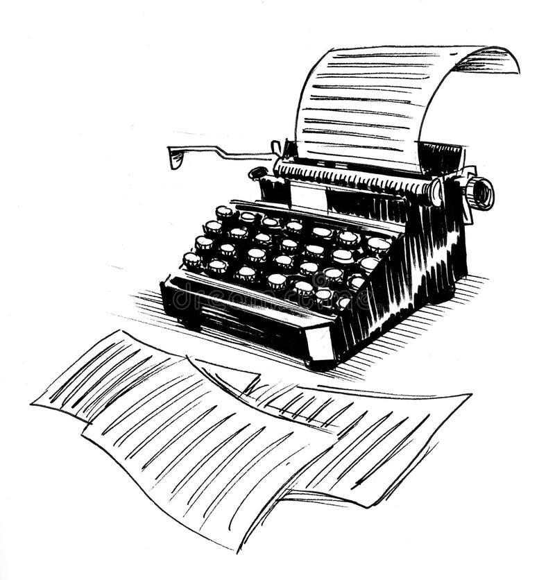 Máquina de escribir vieja ilustración del vector