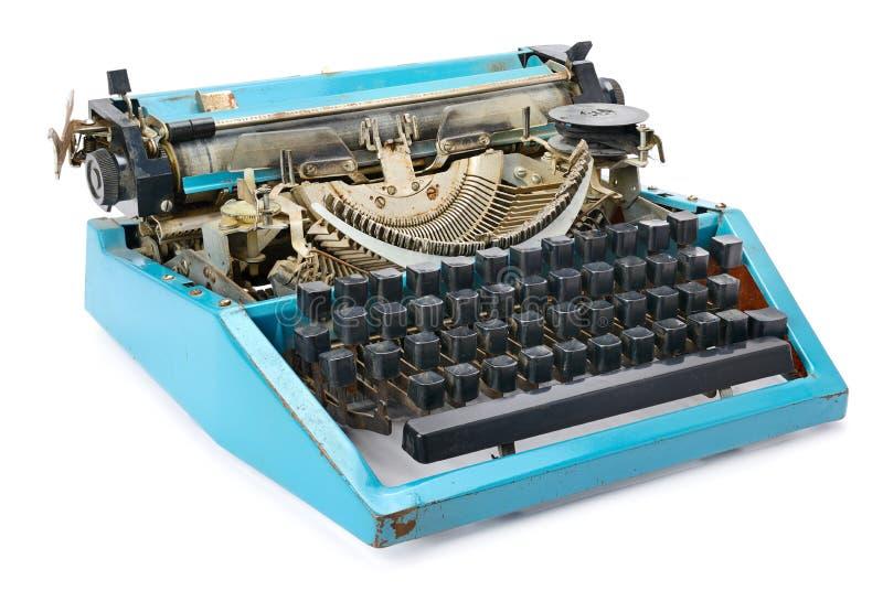 Máquina de escribir vieja aislada en blanco fotos de archivo