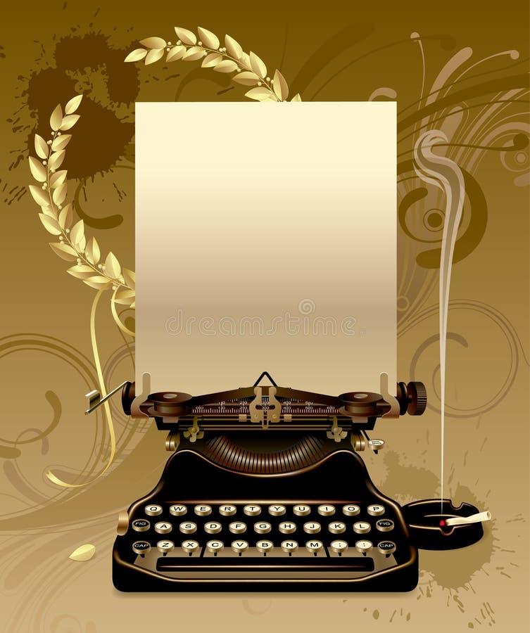 Máquina de escribir vieja con los laureles ilustración del vector
