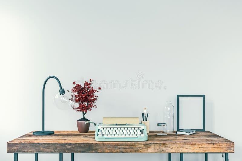 Máquina de escribir vieja en un escritorio, concepto de escritura, periodismo, creando un documento, nostalgia libre illustration