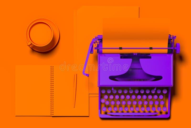 Máquina de escribir violeta realista con el documento en blanco anaranjado sobre el escritorio anaranjado representaci?n 3d Conce ilustración del vector