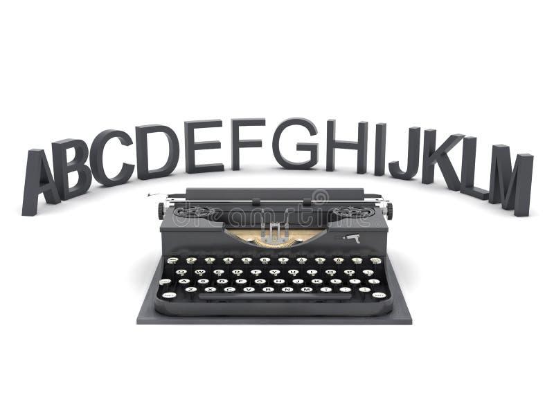 Máquina de escribir y cartas stock de ilustración