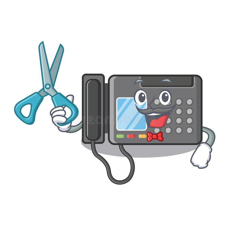 Máquina de fax del peluquero aislada en la mascota libre illustration