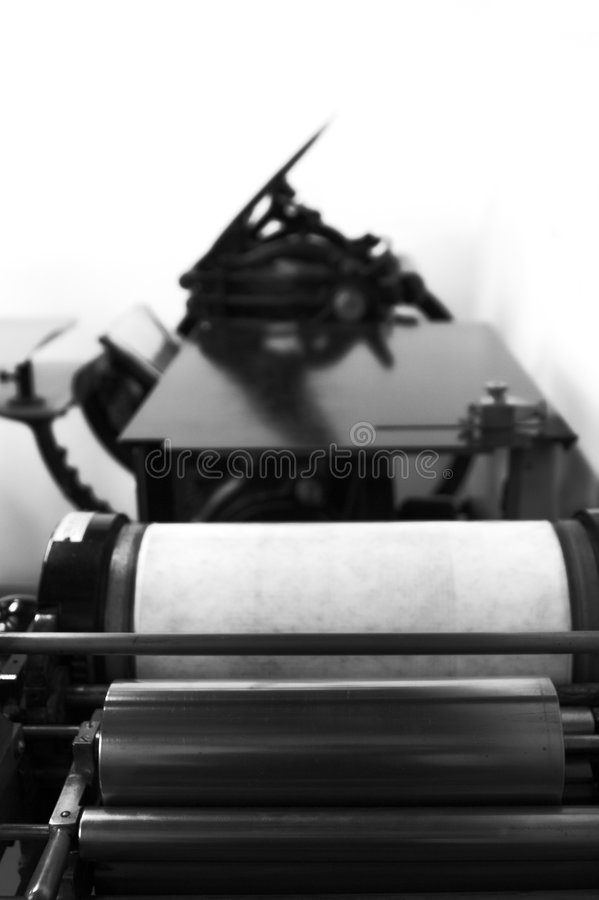 Máquina de impressão antiga imagens de stock royalty free