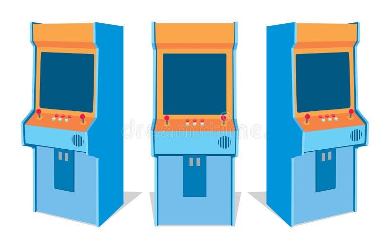 Máquina de juego de arcada en el fondo blanco stock de ilustración