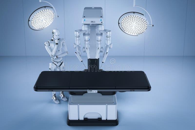 Máquina de la cirugía del robot stock de ilustración