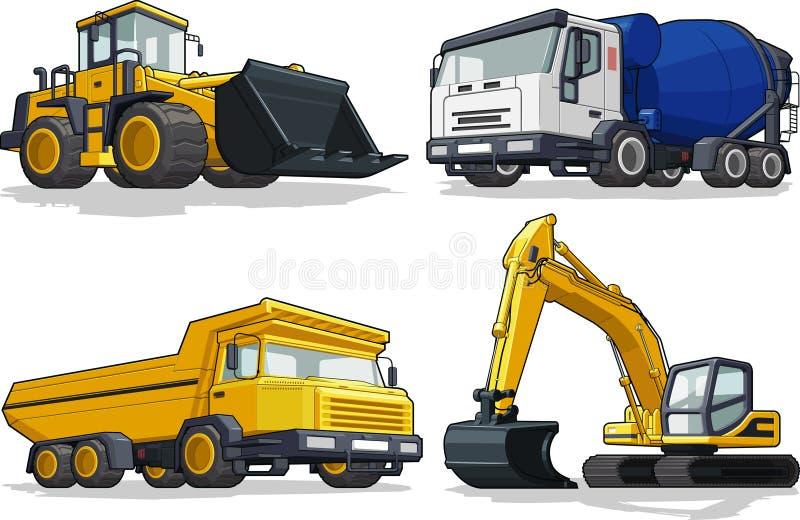Máquina de la construcción - niveladora, camión del cemento, ha stock de ilustración
