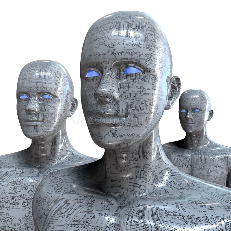 Máquina de la gente - inteligencia artificial. ilustración del vector