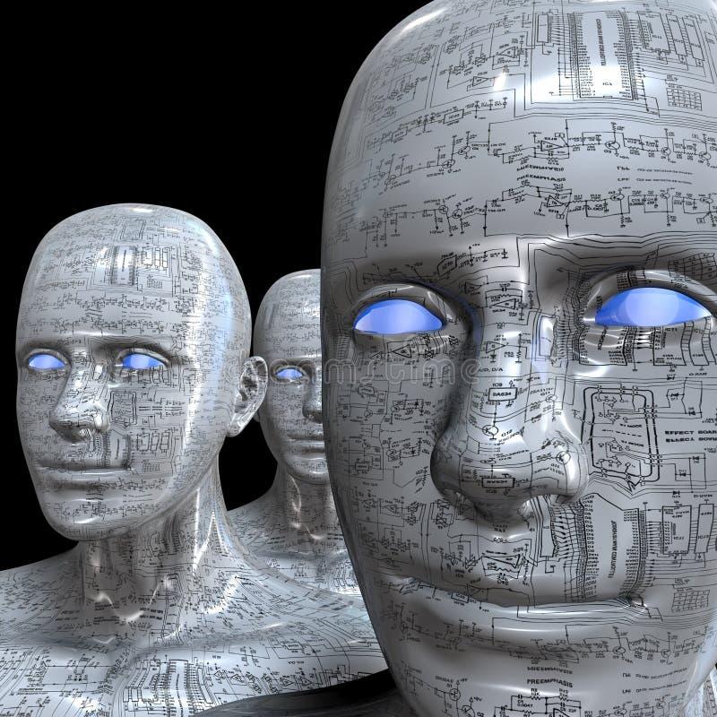 Máquina de la gente - inteligencia artificial. stock de ilustración