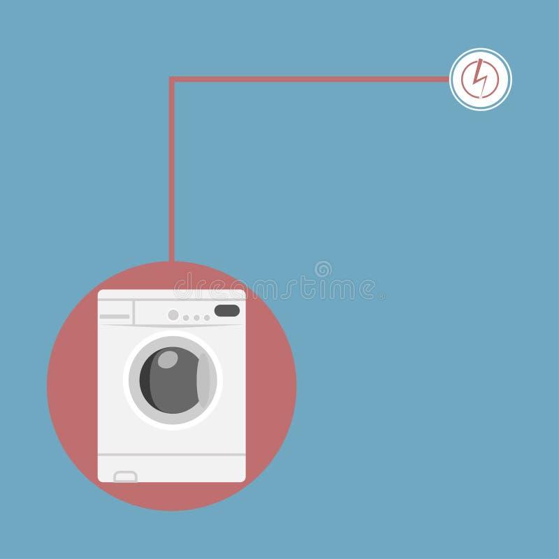 Máquina de lavar branca com o sinal do poder isolado no fundo Ícone de Landromat Laungry, dispositivo doméstico, equipamento da c ilustração do vetor