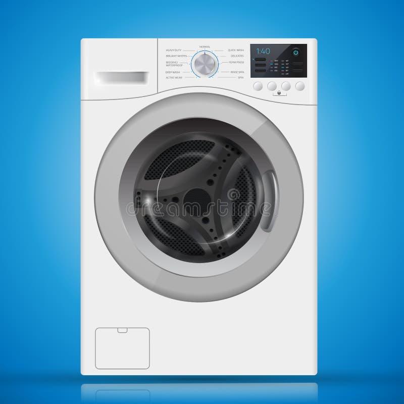 Máquina de lavar branca realística da carga dianteira em um backgr azul ilustração royalty free