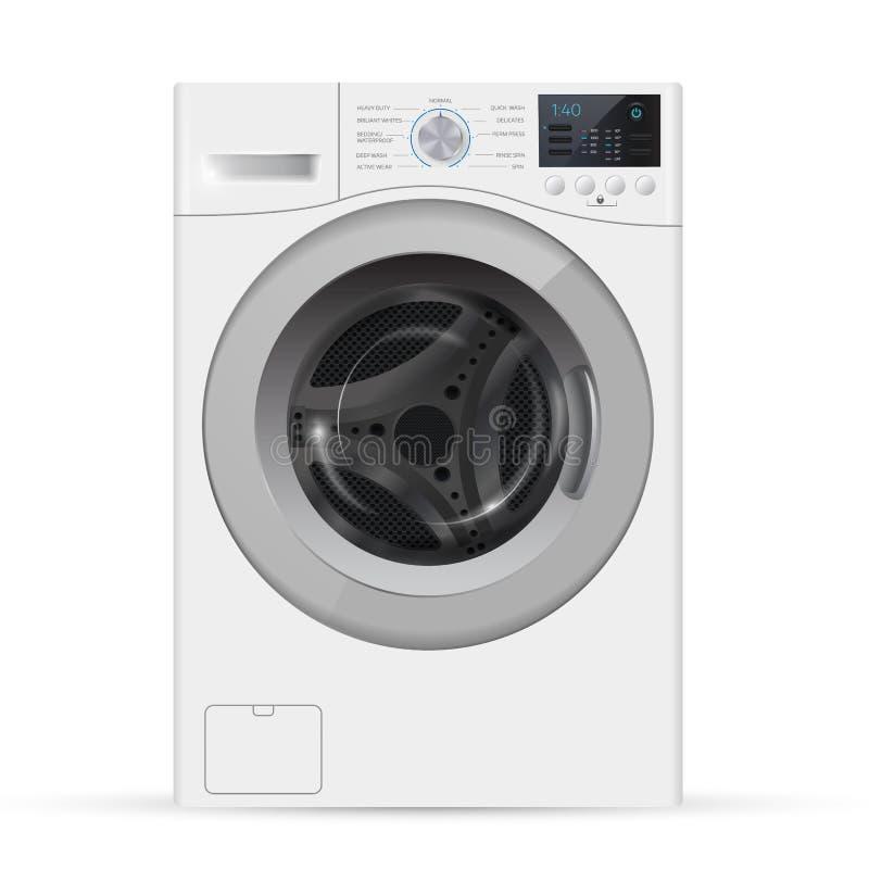 Máquina de lavar branca realística da carga dianteira em um backgro branco ilustração royalty free