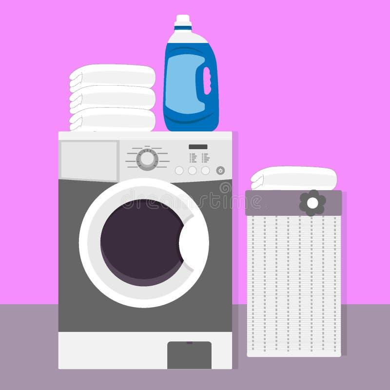 Máquina de lavar com pó de lavagem líquido, linho limpo e cesta de lavanderia Ilustração do vetor no estilo liso ilustração do vetor