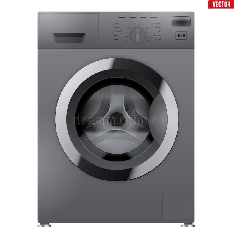Máquina de lavar de prata moderna ilustração do vetor