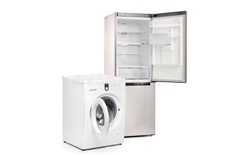 Máquina de lavar e um refrigerador fotos de stock