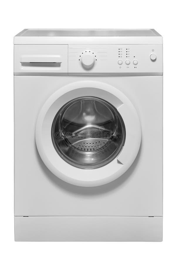 Máquina de lavar em um fundo branco imagens de stock
