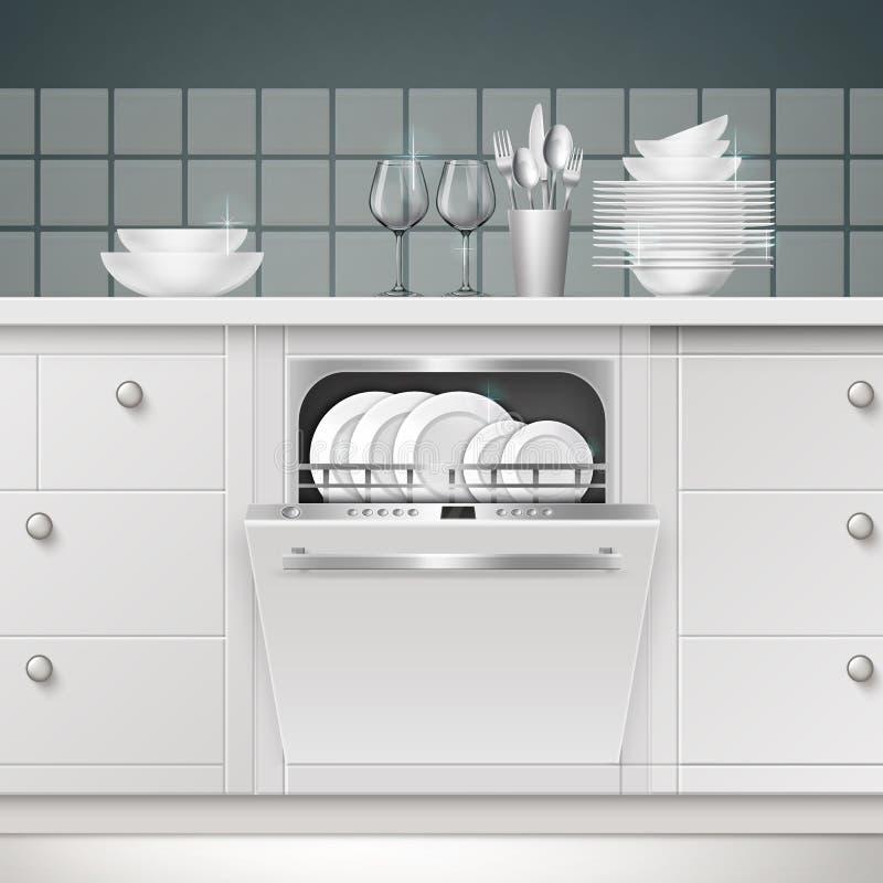 Máquina de lavar louça do acessório do vetor ilustração stock
