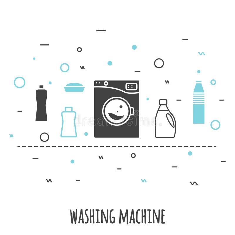 Máquina de lavar na linha estilo lisa A lavagem do ícone do vetor do esboço com produto químico fornece a bandeira ilustração royalty free