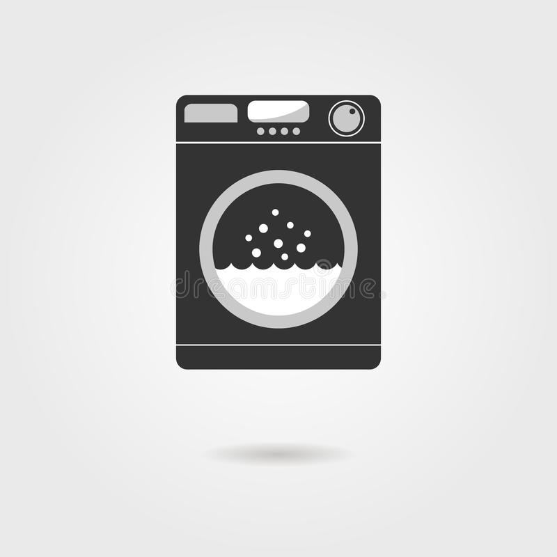 Máquina de lavar preta com sombra ilustração do vetor