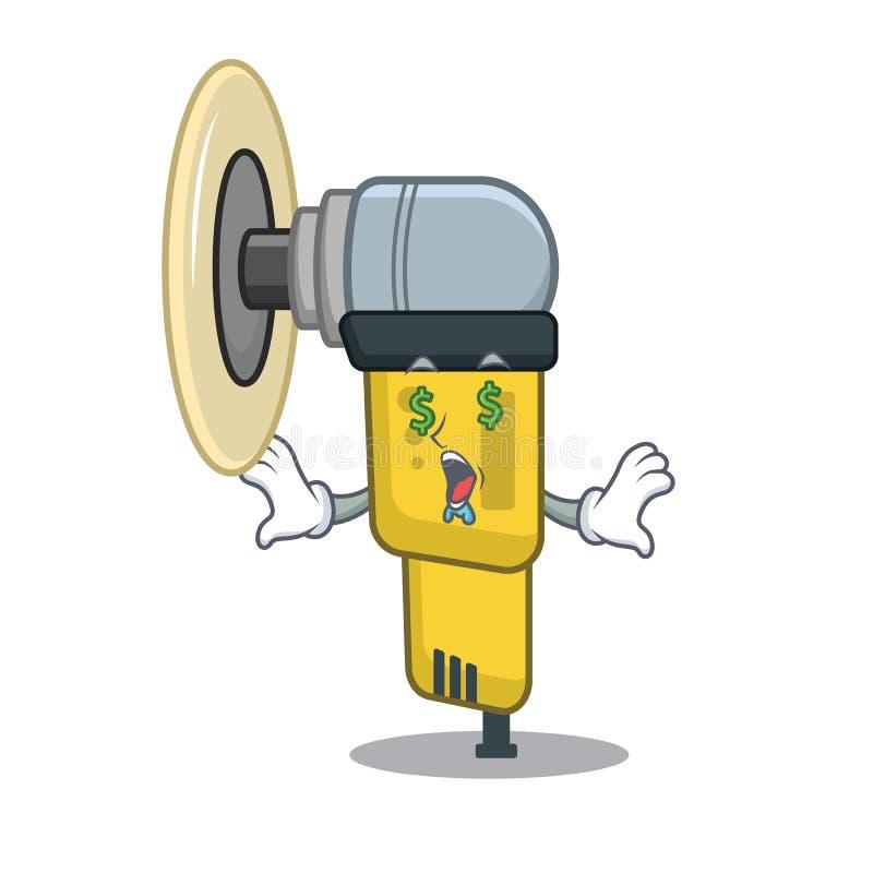 Máquina de lixar pneumática do olho do dinheiro colocada dentro da caixa de caráter ilustração do vetor
