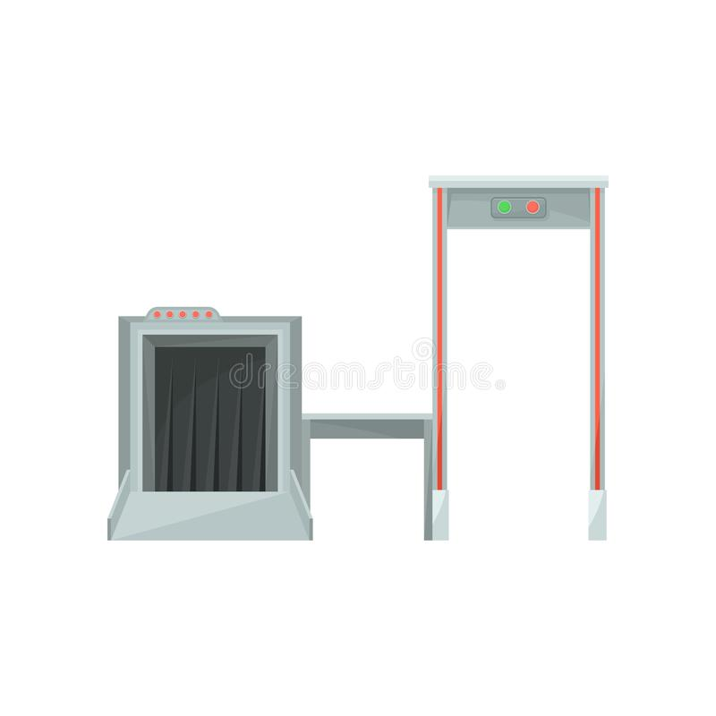 Máquina de raio X para monitorar a porta da bagagem e do detector de metais para verificar passageiros Sistema de segurança aerop ilustração stock