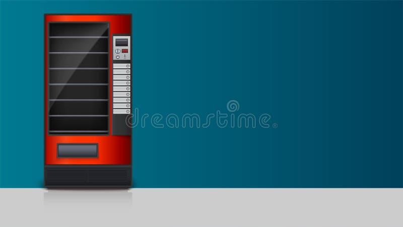 Máquina de venda automática para a venda dos petiscos, da soda ou dos alimentos Molde para anunciar o cartaz com os desenhos deta ilustração do vetor