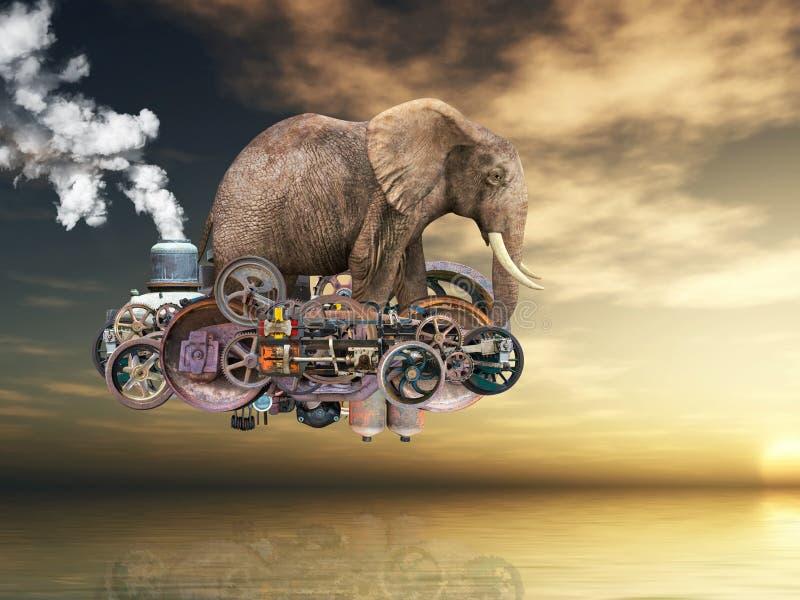 Máquina de voo surreal de Steampunk, elefante ilustração royalty free