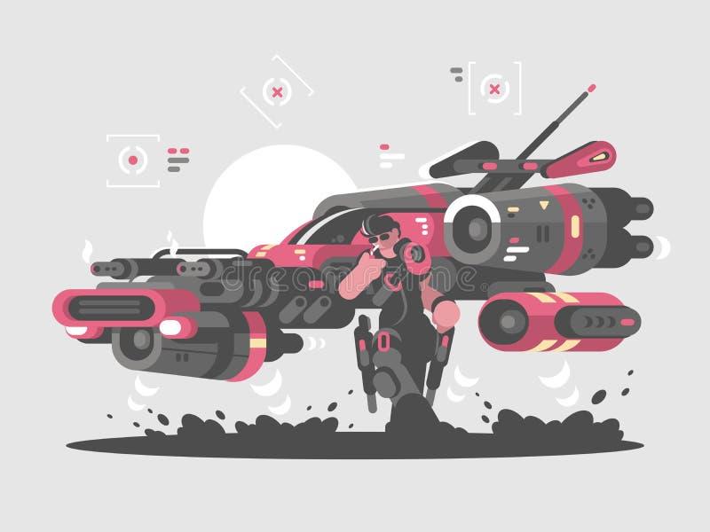 Máquina de vuelo del futuro ilustración del vector