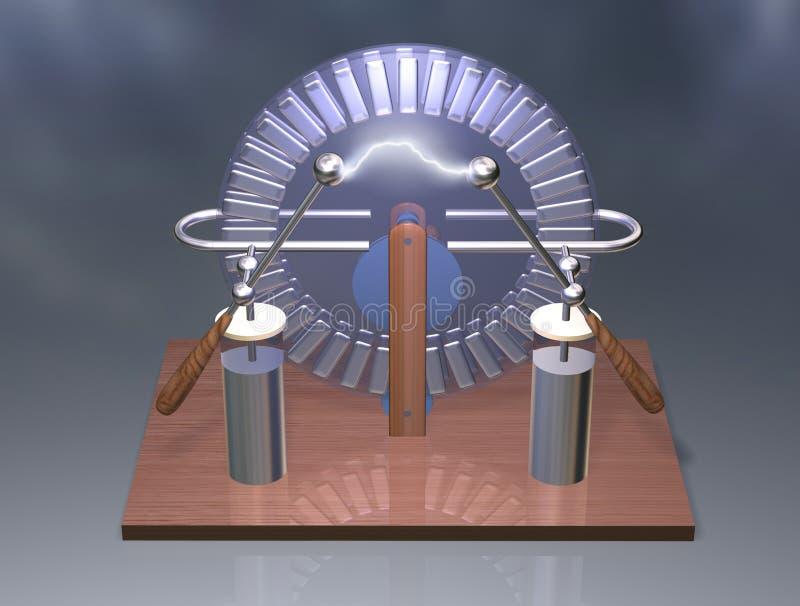 Máquina de Wimshurst com os dois frascos de Leyden ilustração 3D do gerador eletrostático física Experiência das salas de aula da fotografia de stock royalty free
