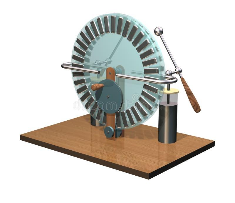 Máquina de Wimshurst com os dois frascos de Leyden ilustração 3D do gerador eletrostático física Experiência das salas de aula da foto de stock