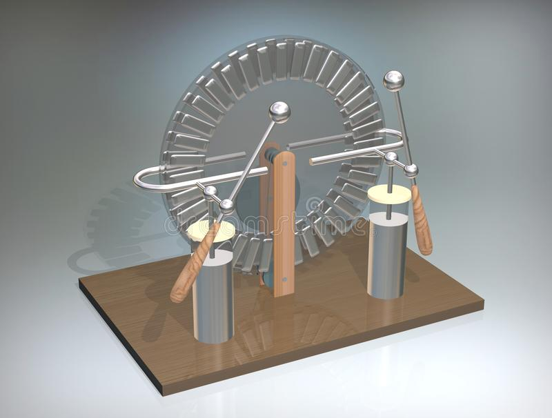 Máquina de Wimshurst con dos tarros de Leiden ejemplo 3D del generador electrostático Física Experimento de las salas de clase de stock de ilustración