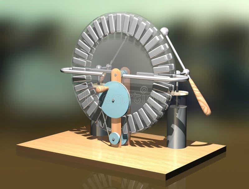 Máquina de Wimshurst con dos tarros de Leiden ejemplo 3D del generador electrostático Física Experimento de las salas de clase de libre illustration