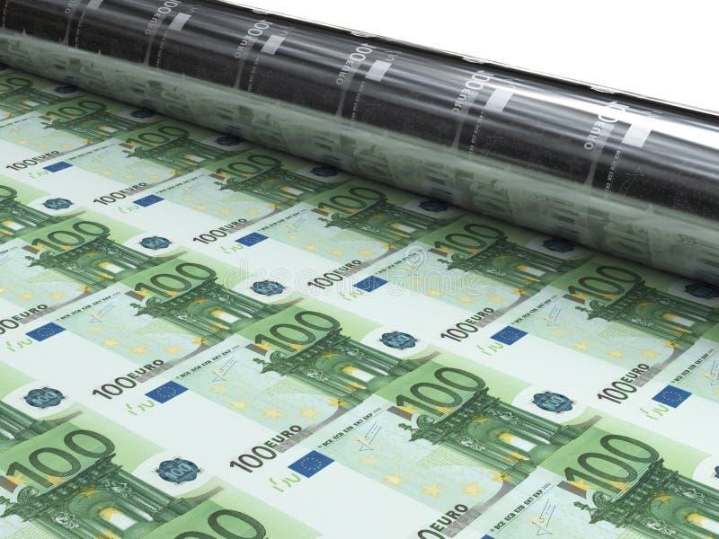 Máquina del dinero para imprimir nuevos billetes de banco euro ilustración del vector