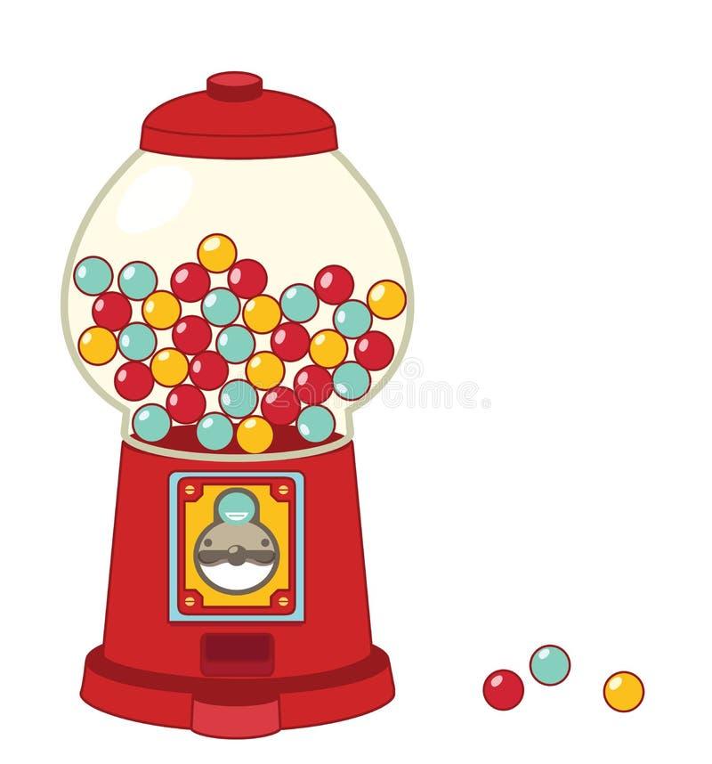 Máquina del gumball del vintage aislada en blanco stock de ilustración