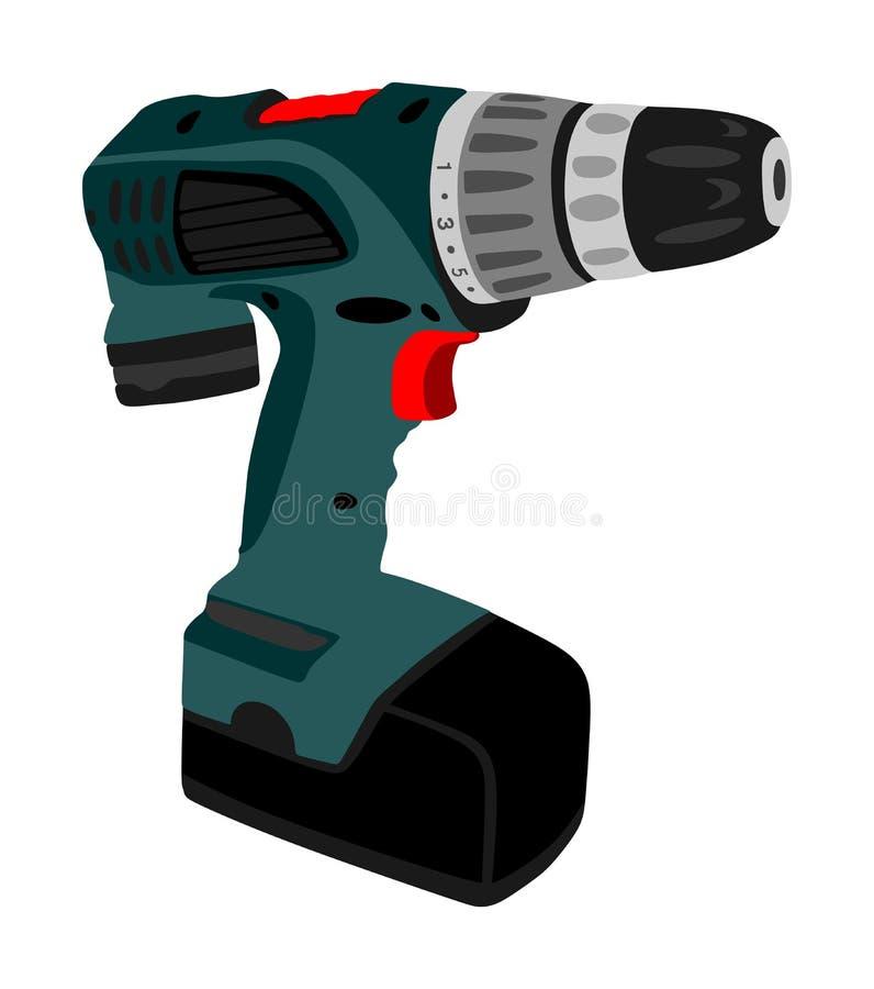 Máquina del taladro del destornillador de la batería aislada sobre el fondo blanco Máquina-herramienta de perforación stock de ilustración