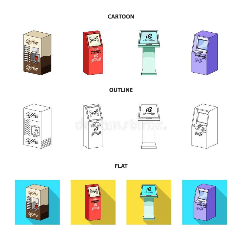 Máquina do café, ATM, terminal da informação Ícones da coleção do grupo de terminais nos desenhos animados, esboço, vetor isométr ilustração do vetor