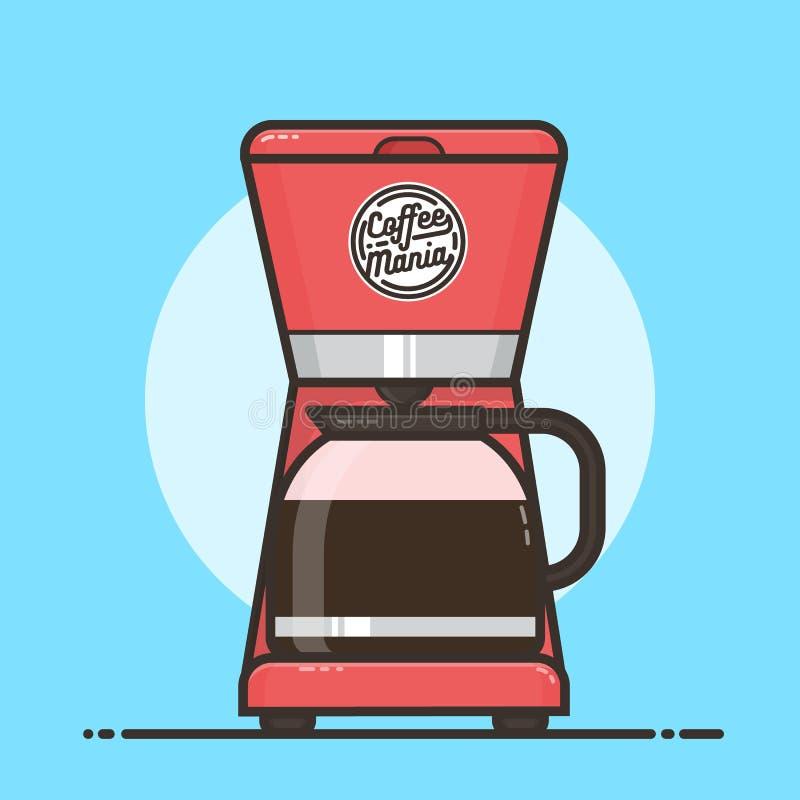 Máquina do café com potenciômetro do café Projeto liso ilustração stock