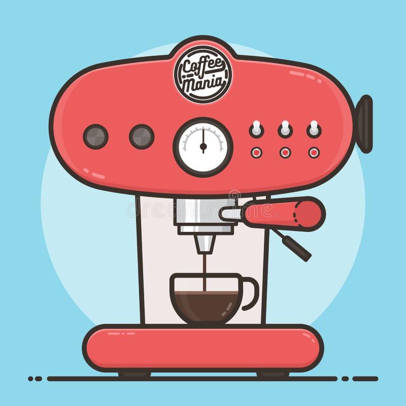 Máquina do café com um copo de café quente Projeto liso ilustração royalty free