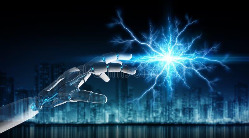 Máquina do robô inteligente que cria a rendição da eletricidade 3D ilustração royalty free