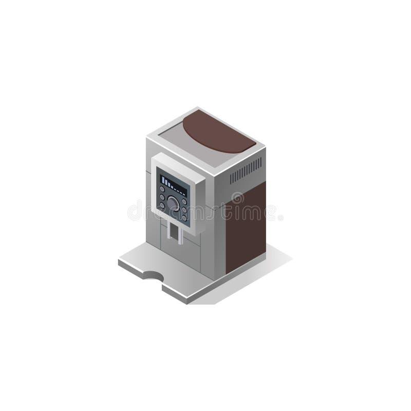 Máquina elétrica do café com copos Ilustração isométrica do vetor fotografia de stock