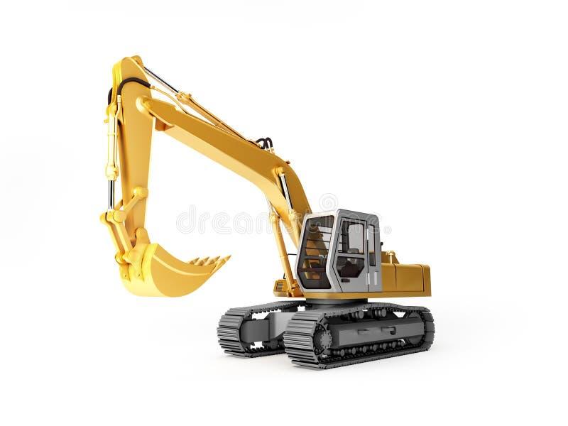 Máquina escavadora amarela isolada ilustração royalty free