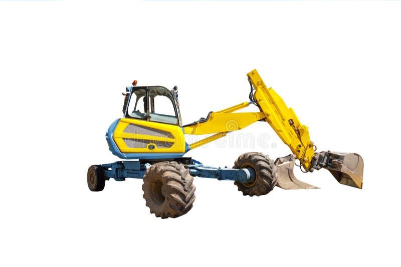 Máquina escavadora amarela no fundo branco imagem de stock