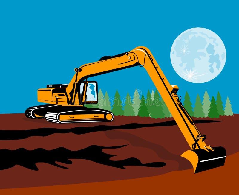 Máquina escavadora com lua ilustração royalty free