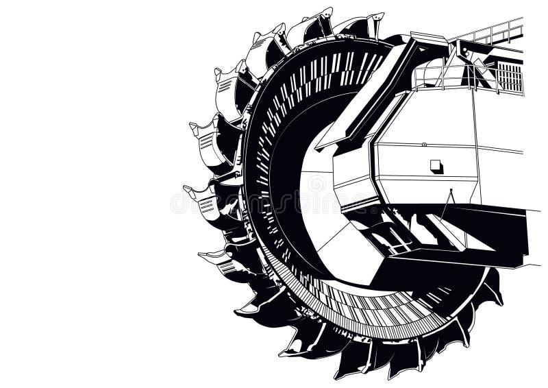 Máquina escavadora de roda de cubeta gigante ilustração royalty free