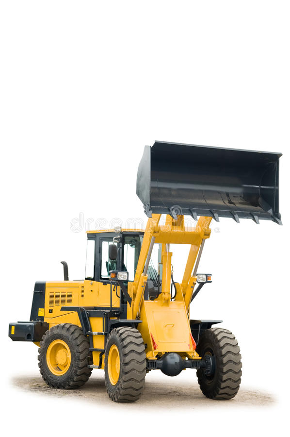 Máquina escavadora do carregador da roda isolada fotos de stock royalty free
