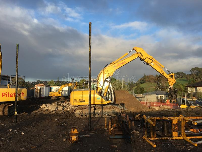 Máquina escavadora do escavador mecânico foto de stock royalty free