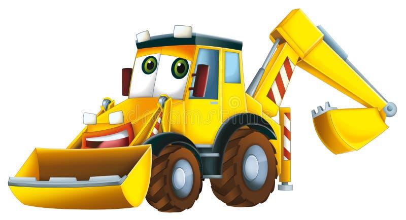 Máquina escavadora dos desenhos animados - caricatura ilustração stock