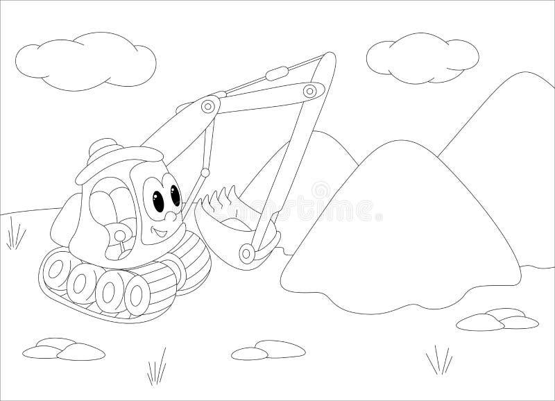 Maquina Escavadora Dos Desenhos Animados Livro Para Colorir Para